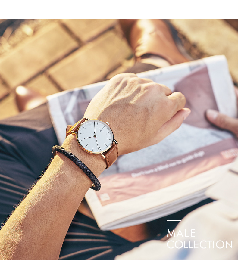 Day Date Slim Big Face Leather Mens Watches In Wristwatches