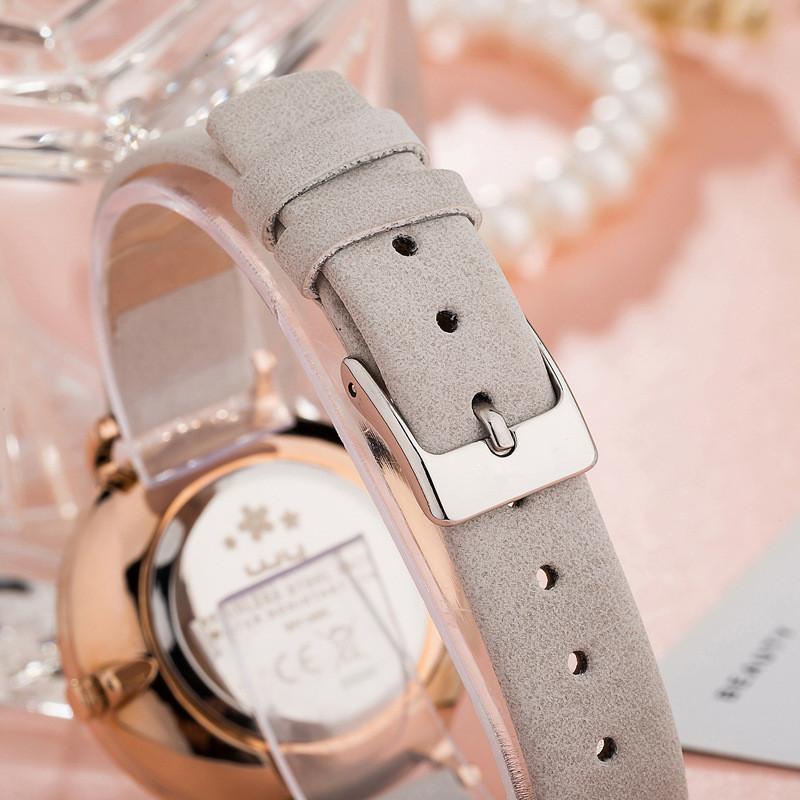 Vogue Minimal Stainless Steel Leather Ladies Watches Women