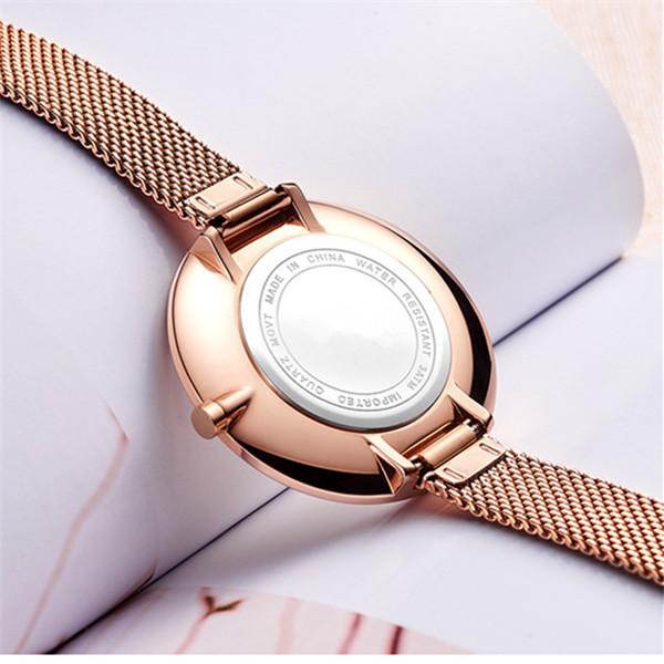 Simple Two Hands Rose Gold Japan Quartz Waterproof Ladies Watches