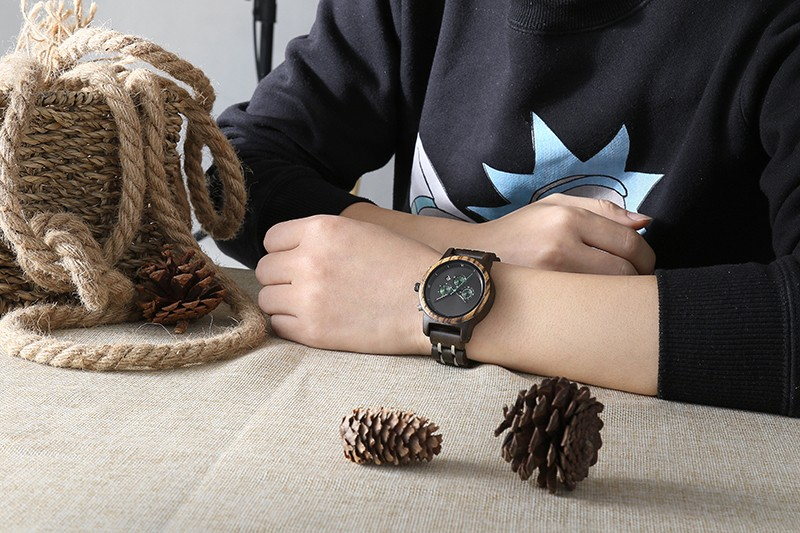 Luxury Chronograph Steel Wooden Watches For Men