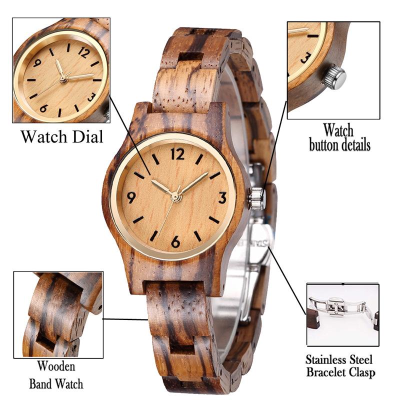 Custom Private Label Quartz Women Wooden Watches jam tangan kayu