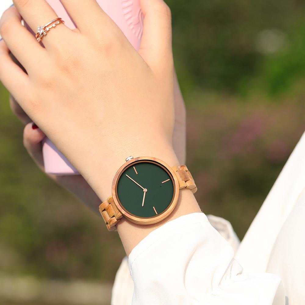 Minimalist Japan Quartz Green Olive Wood Watch For Women