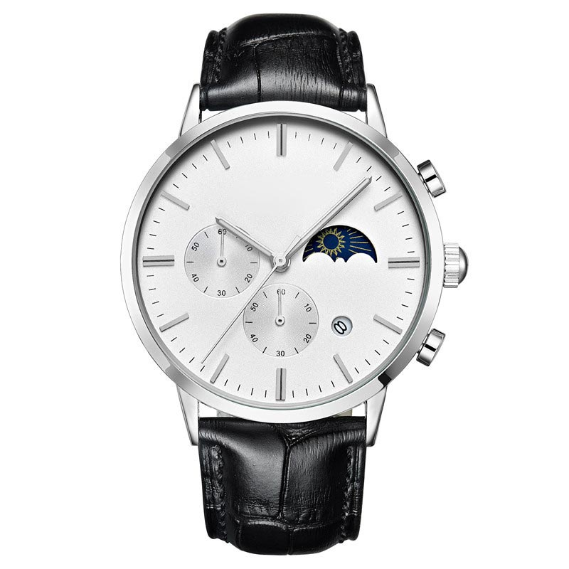 Luxury Design Moon Phase Leather Watch