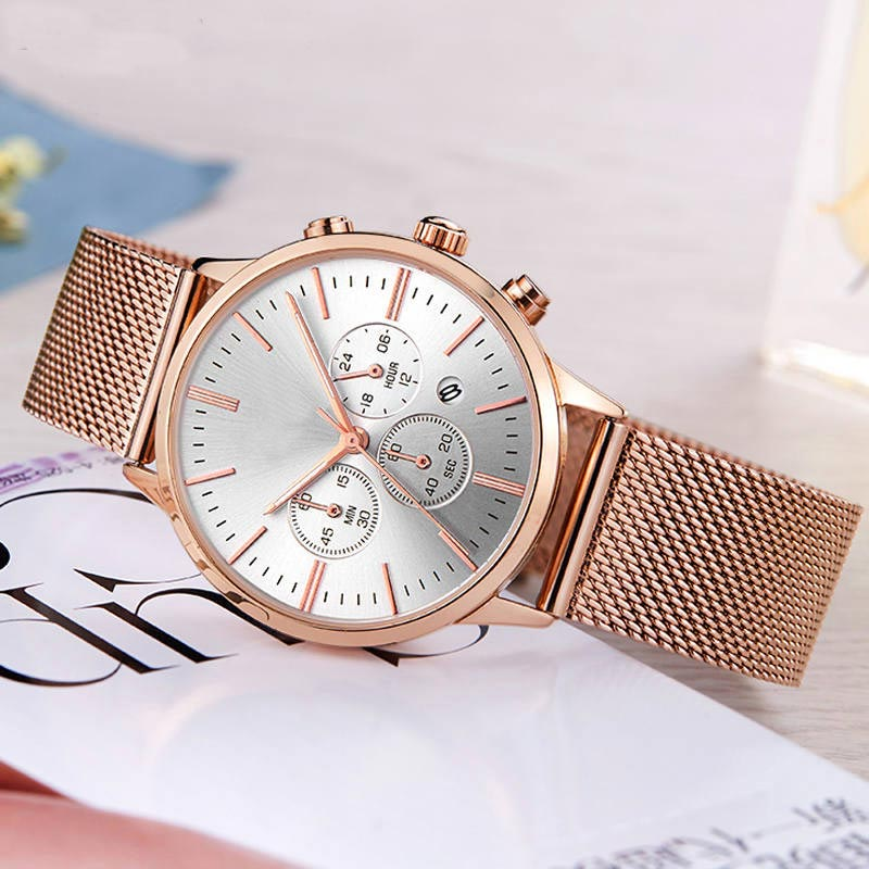 Custom stainless steel fashion Chronograph unisex wrist watch