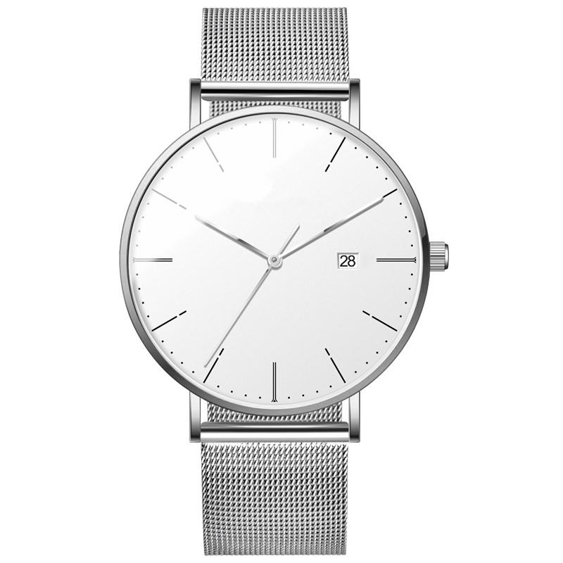 Japan Quartz Minimalist Mesh Strap Slim Thin Watches Men Wrist