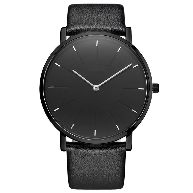 Custom OEM Fashion Simple Minimalist Leather Strap Mens Watch