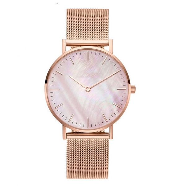 Custom Minimalist Rose Gold Stainless Steel Mesh Womens Watches