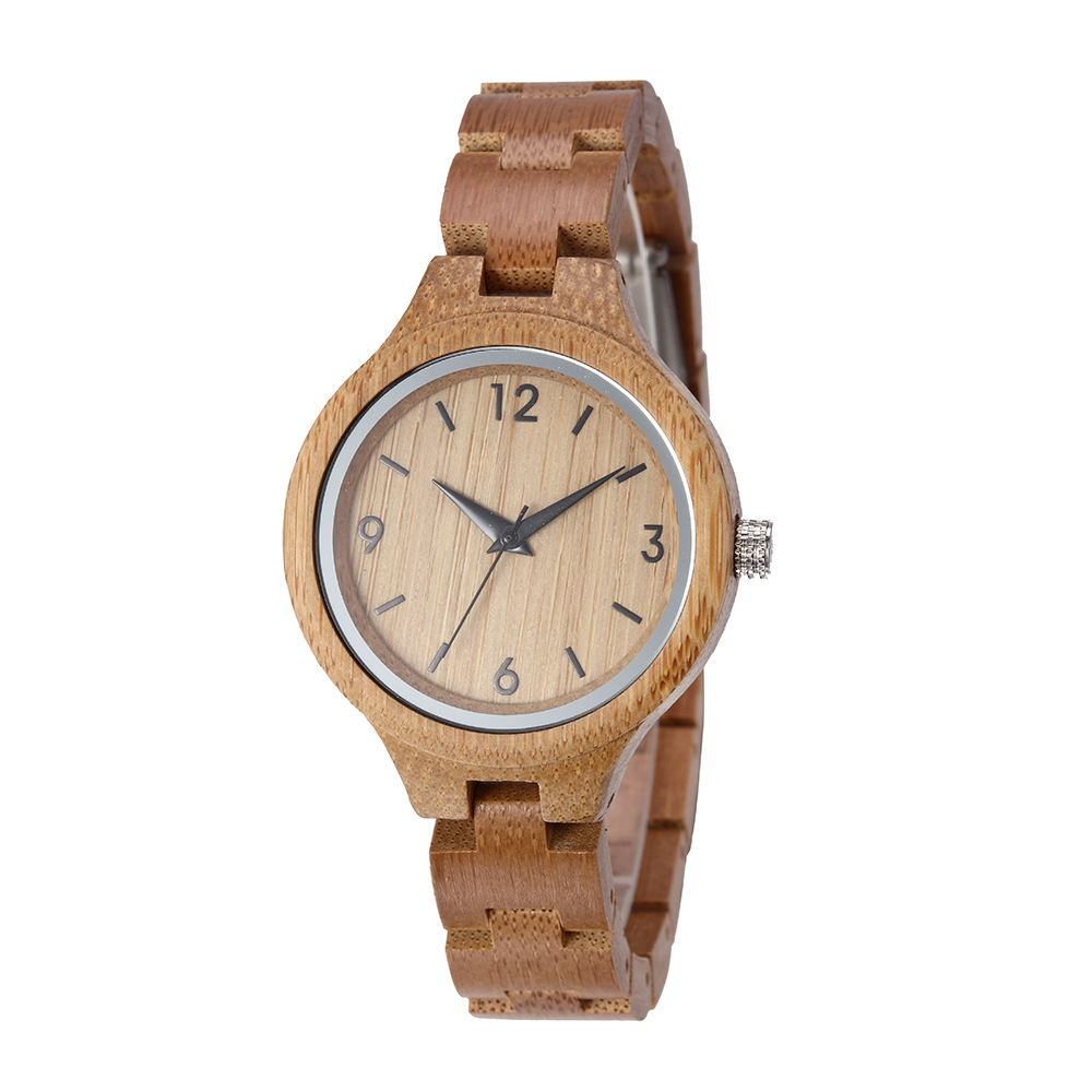 Custom Logo Engraved Women Bamboo Wood Watch Relojes De Madera