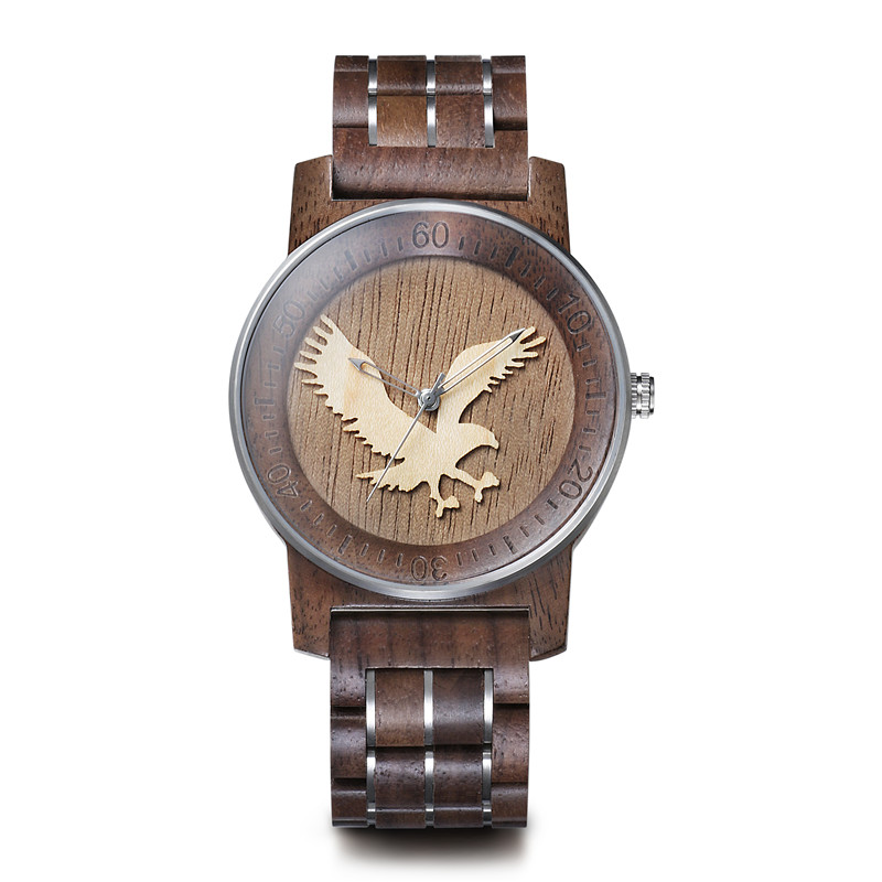 Custom Logo OEM 3D Engraved Horse Steel Wood Watches Men Montre En Bois