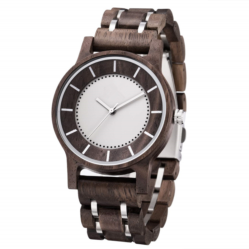 Unisex Handmade Natural Steel Walnut Wooden Watches