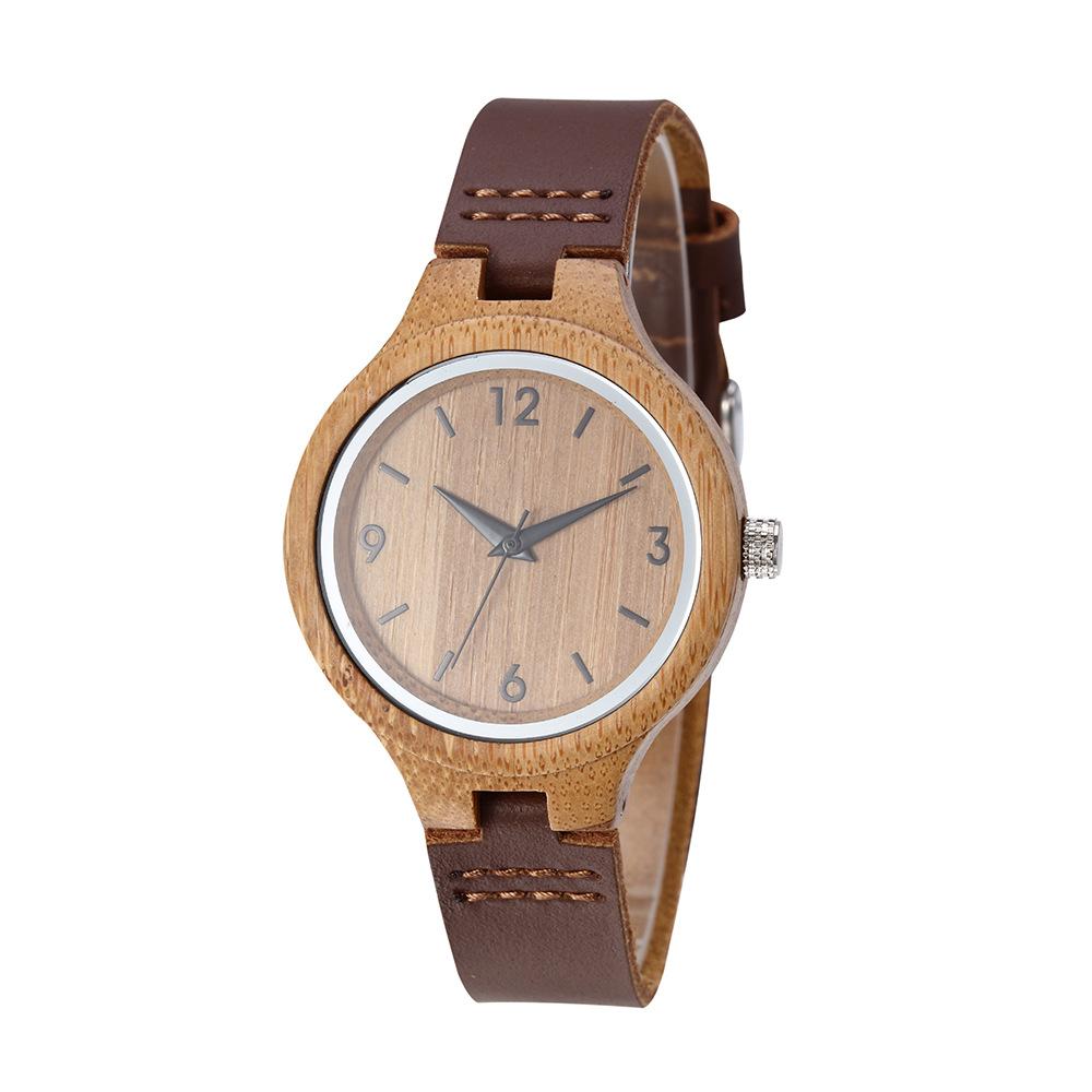 Stylish Leather Strap Ladies Bamboo Wood Watch Reloj De Madera