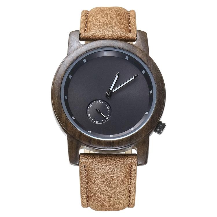 OEM Csutom Black Sandalwood Leather Wood Watches Men